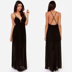 Lush Oh So Coy black strappy maxi dress